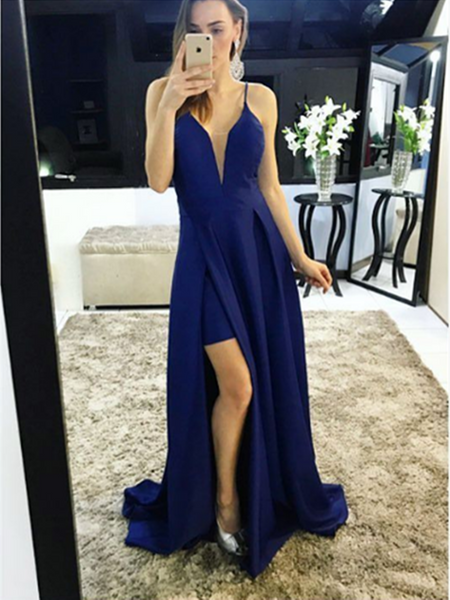 Deep V Neck Navy Blue High Slit Satin Long Prom Dresses, Deep V Neck Navy Blue High Slit Satin Long Evening Dresses