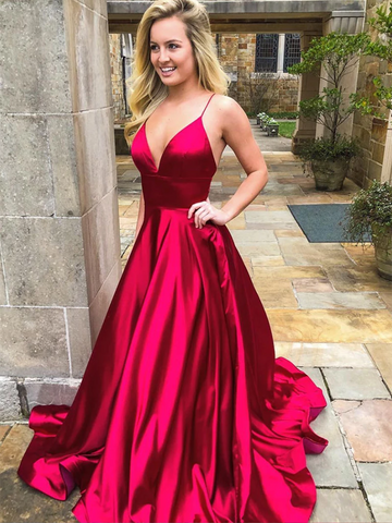 Simple V Neck Burgundy Satin Long Prom Dresses,  V Neck Burgundy Satin Long Formal Evening Dresses