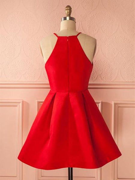 Simple Red Short Prom Dress, Short Red Homecoming Dress, Red Short Mini Formal Dress