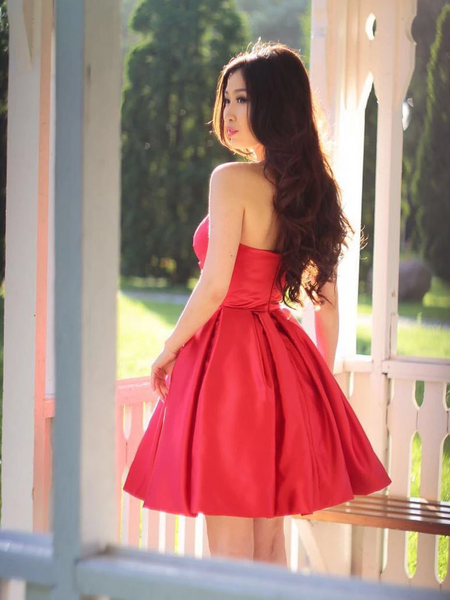 Red Elegant Simple Sweetheart Neck Short Satin Pron Dresses, Red Short Sweetheart Formal Evening Homecoming Dresses