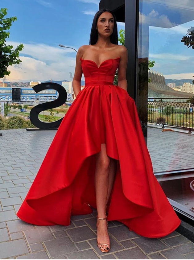 Strapless Sweetheart Neck High Low Red Long Prom Dresses, High Low Red Formal Dresses, Red Strapless Evening Dresses