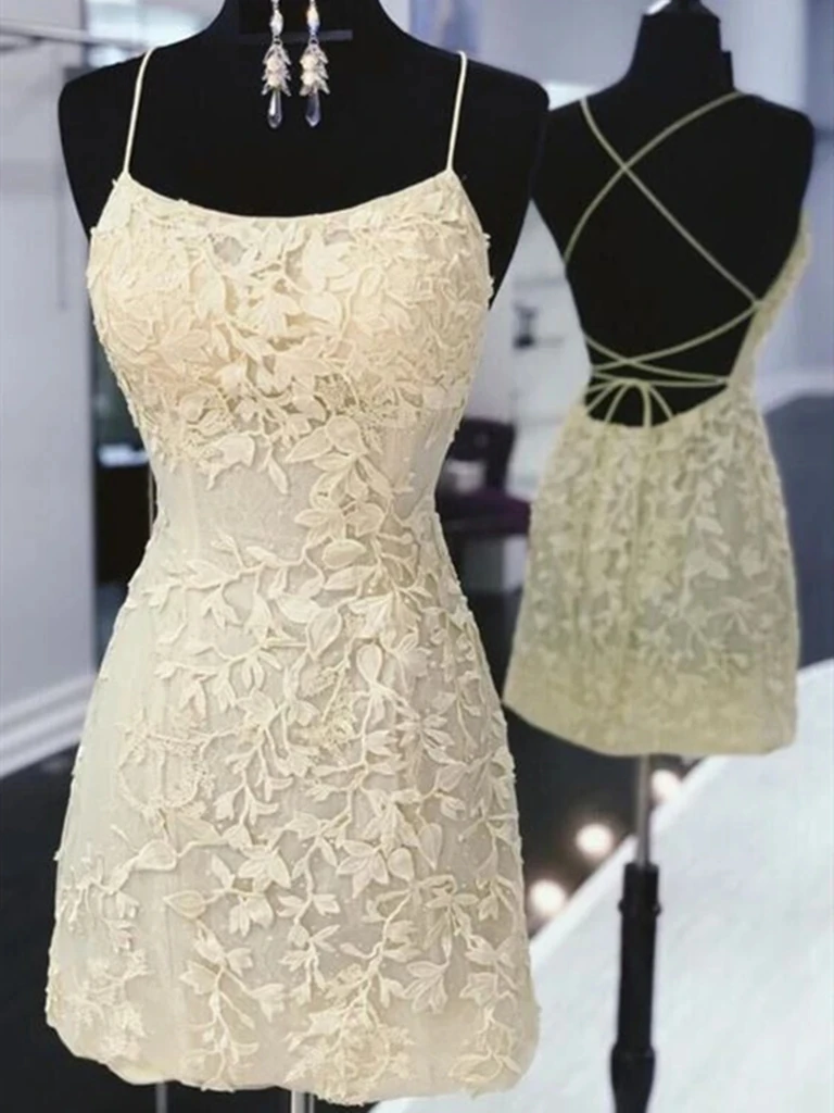 Short Yellow Backless Lace Prom Dresses, Short Open Back Lace Formal Homecoming Graduation Dresses