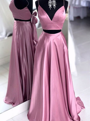 V Neck Pink 2 Pieces Satin Long Prom Dresses, V Neck Pink Two Pieces Satin Long Formal Evening Dresses