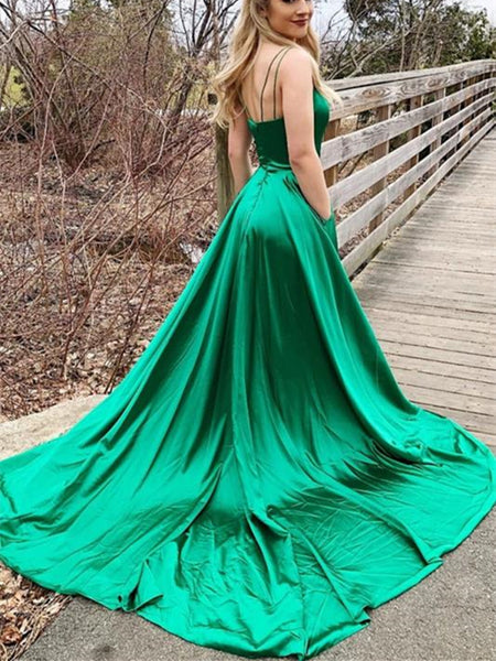 V Neck Backless Green Satin Long Prom Dresses 2020 with Leg Slit, Open Back Green Formal Graduation Evening Dresses