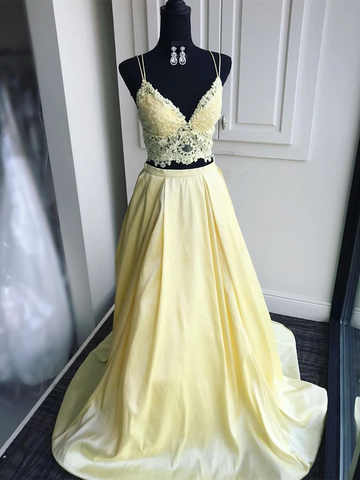 V Neck Two Pieces Yellow Lace Long Prom Dresses, 2 Pieces Yellow Lace Formal Graduation Evening Dresses