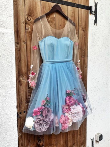 Blue Long Sleeves Short Prom Dresses ,Blue Short  Homecoming Dress With 3 D Appliques