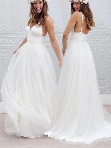 V neck white backless long wedding dresses,  White backless prom dresses