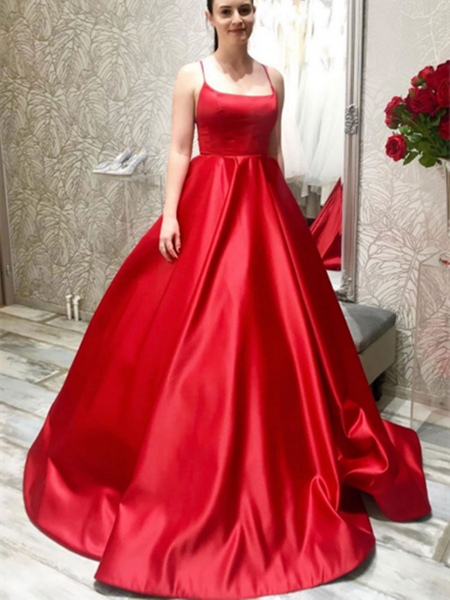 Simple Red Satin Long Prom Dress ,Red Backless Evening Dress