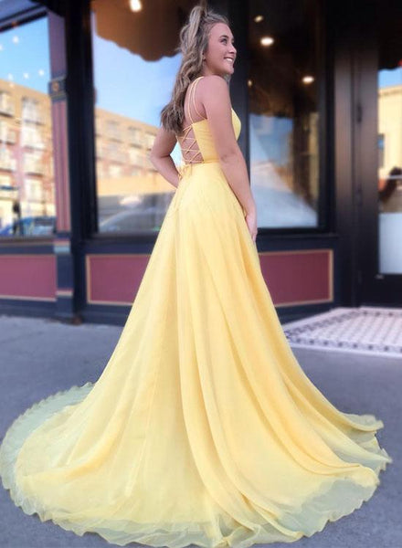 A Line Yellow  Long Prom Dresses With Spaghetti Straps,Yellow Chiffon Formal Dresses, Yellow Sweep Train Evening Dresses