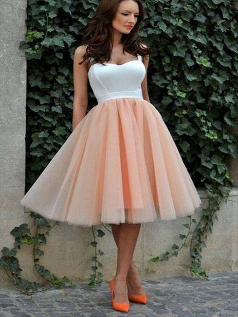 A line sweetheart neck white and blush pink short prom dress, White and blush pink homecoming dress with double straps
