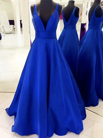 Simple V Neck Royal Blue Satin Long Prom Dresses, Royal Blue Satin Formal Evening Graduation Bridesmaid Dresses