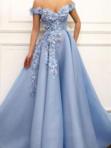A Line Blue Off Shoulder Flower Appliques Long Satin Prom Dresses,  Blue Off Shoulder Evening Dress