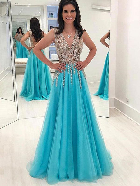 V neck blue tulle  long prom dress with beaded, Blue beaded formal evening dress