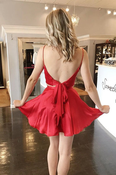V Neck Two Pieces Backless Red Short Prom Homecoming Dresses, 2 Pieces Red Formal Graduation Evening Dresses
