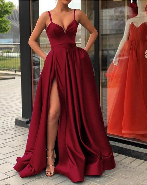 Custom Made A Line Champagne/ Burgundy Spaghetti Straps Prom Dress with High Slit, Ball Dresses, Formal Graduation Dresses