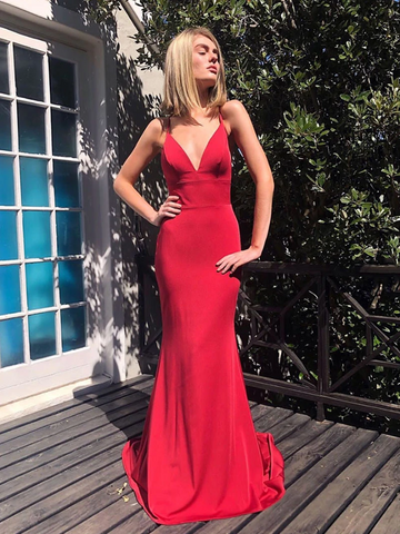 V Neck Mermaid Red Backless Prom Dresses,   Mermaid Red Backless Long Formal Evening Dresses