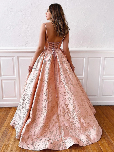 V Neck Pink Lace Prom Dresses, Pink Lace Backless Prom Formal Evening Dresses