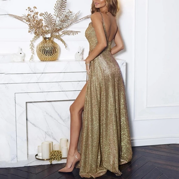 Champagne Long Prom Dresses, Champagne Floor Length Formal Evening Dresses