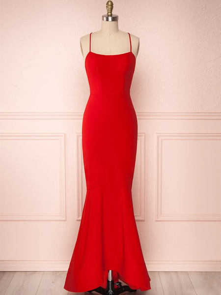 Spaghetti Straps Red Mermaid Prom Dresses, Backless Red Mermaid Formal Graduation Evening Dresses
