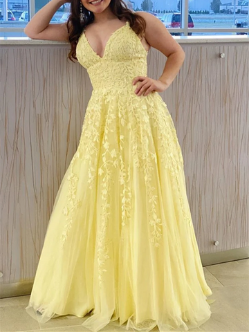 A Line V Neck Backless Yellow Lace Long Prom Dresses, Yellow Lace Formal Graduation Evening Dresses