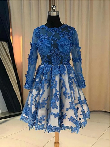Long Sleeves  Blue Lace Short Prom Dresses, Short Blue Lace Formal Homecoming Graduation Dresses