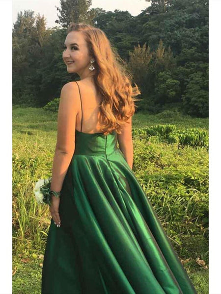 V Neck A Line Spaghetti Straps Satin Long  Prom Dress with Pockets, Emerald Green Satin Long Formal Evening Dresses