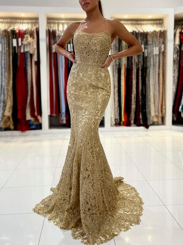 Gold Mermaid Lace Backless Prom Dresses, Open Back Golden Mermaid Lace Formal Evening Dresses