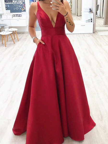 Simple V Neck Burgundy Long Prom Dresses, Burgundy V Neck Formal Evening Graduation Dresses