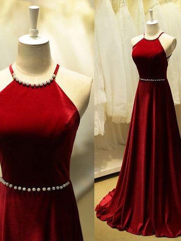 Burgundy Backless Beaded Ball Gown Prom Dress, Burgundy Backless Beaded  Evening Dress