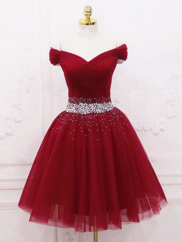 Off Shoulder Burgundy Short Prom Dresses,  Burgundy Off the Shoulder Short Formal Homecoming Dresses