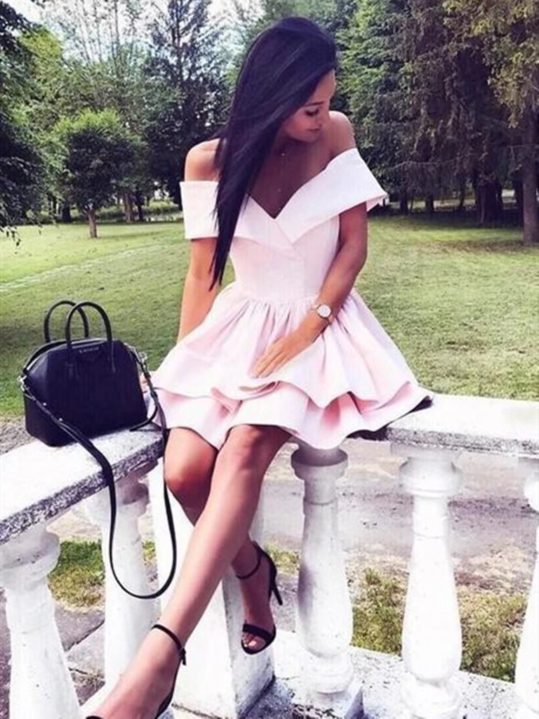 Off the Shoulder Short Pink Prom Dresses, Short Off Shoulder Pink Formal Graduation Dresses
