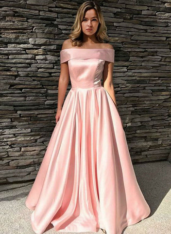 Pink Off Shoulder Satin Long Prom Dress , Off the Shoulder Pink Satin Long Formal Graduation Evening Dresses