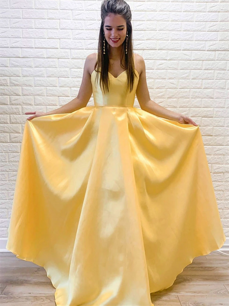 A Line V Neck Yellow Satin Long Prom Dresses, A Line V Neck Yellow Satin Long Formal Evening Dresses