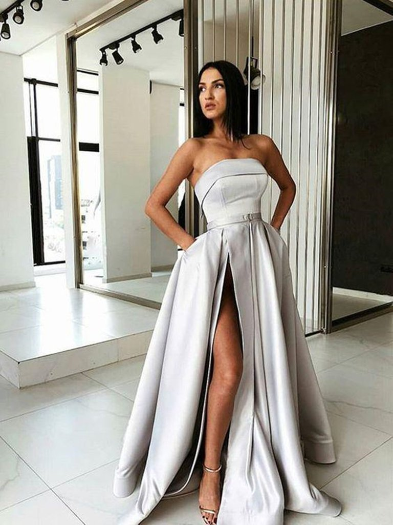 Custom Made A Line Gray Long Prom Dresses with High Slit, High Slit Long Gray Formal Evening Graduation Dresses