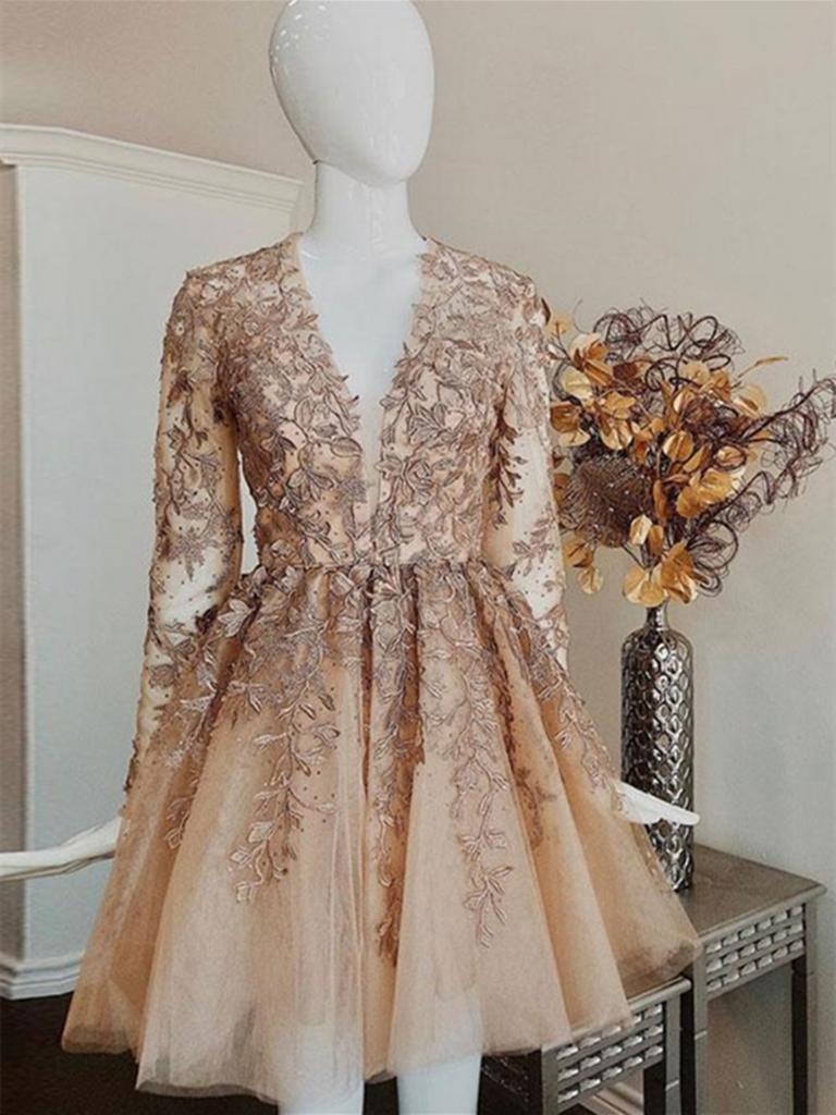 Champagne V Neck Long Sleeves Lace Short Prom Dresses, Long Sleeves Champagne Lace Homecoming Dresses, Champagne Lace Formal Graduation Evening Dresses