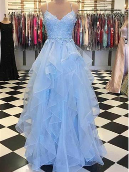 Blue sweetheart neck tulle lace long prom dress, Blue tulle lace evening dress
