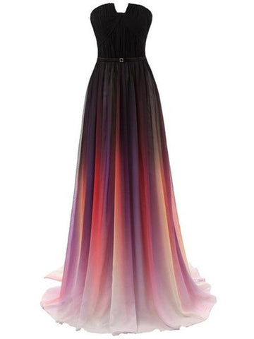 Custom Made Ombre Chiffon Long Prom Dress, Ombre Bridesmaid Dresses, Formal Dresses
