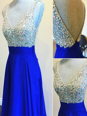 Custom Made A Line V Neck Floor Length Royal Blue Prom Dresses, Blue Formal Dresses, Blue Bridesmaid Dresses