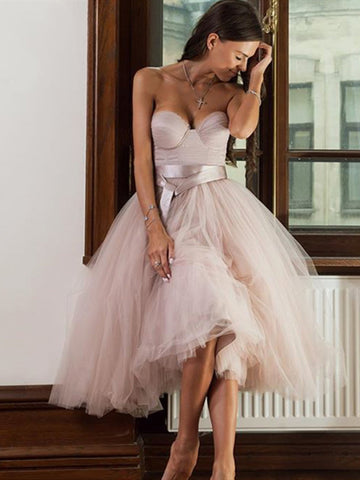 Pink Tulle Short Prom Dress, Sweetheart Neck Pink Tulle Short Formal Evening Dress