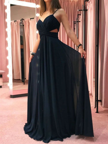 Black Chiffon Long Prom Dress, Simple Black Chiffon Long Formal Evening Dress