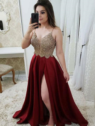V Neck Burgundy Lace Long Prom Dress With Leg Slit,  Burgundy Lace Formal Evening Dress