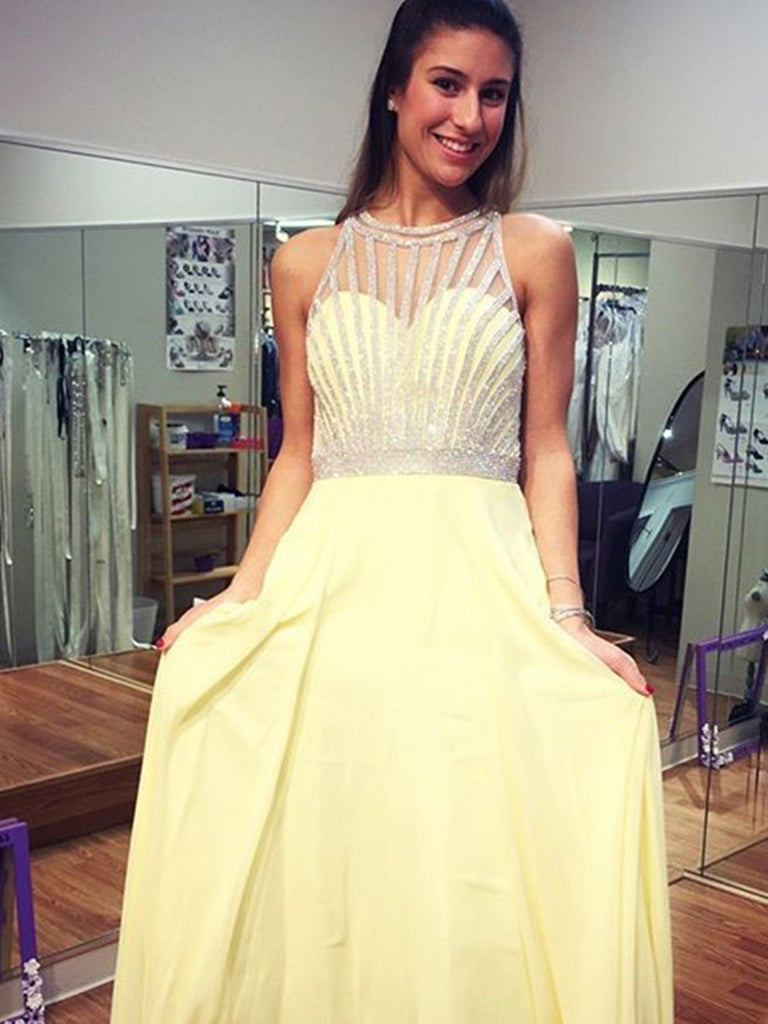 A Line Chiffon Round Neck Yellow Beading Prom Dress , Yellow Beading Formal Evening Dress