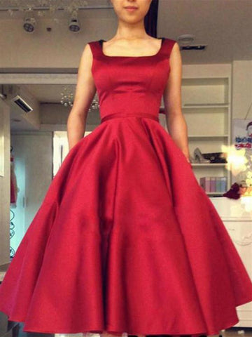Ball Gown Square Neckline Red Short Satin Backless Prom Dresses, Red Short Backless Homecoming Dresses
