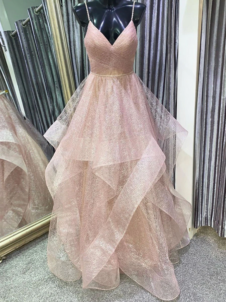 Unique V Neck Tulle Sequin Champagne Pink Long Prom Dresses, Champagne Pink Sequin Formal Graduation Evening Dresses