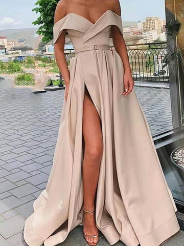 Champagne Off Shoulder Satin Long Prom Dresses With High Slit, Champagne Formal Dresses, Off The Shoulder Evening Dresses