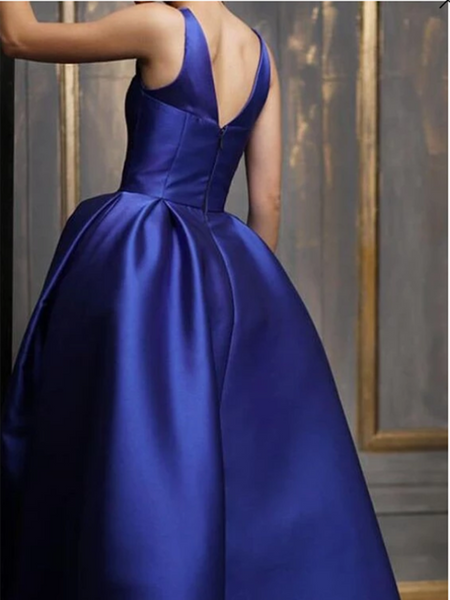 Asymmetrical Ankle Length Satin Prom Gown, V Neck Royal Blue Evening Dress, Party Dress
