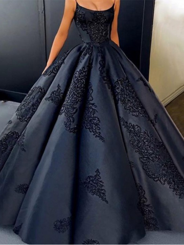 Black Ball Gowns Prom Dresses, Spaghetti Straps Lace Long Prom Dresses,Evening Dresses