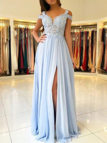 Light Blue Off Shoulder Lace Long Prom Dresses with Split, Light Blue Lace Graduation Formal Evening Dresses