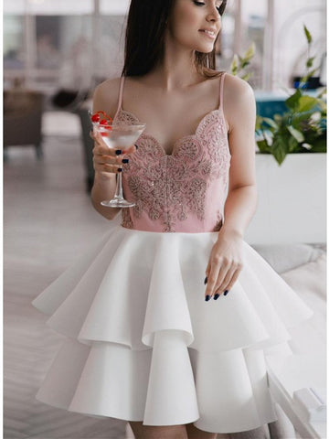 V neck white and pink short prom dresses, white and pink homecoming dresses