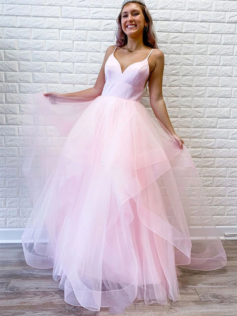 Cute V Neck Blue Pink Tulle Long Prom Dresses,  V Neck Blue Pink Formal Evening Dresses